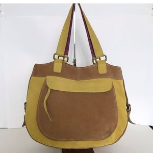 French Connection yellow/brown Suede shoulder Bag